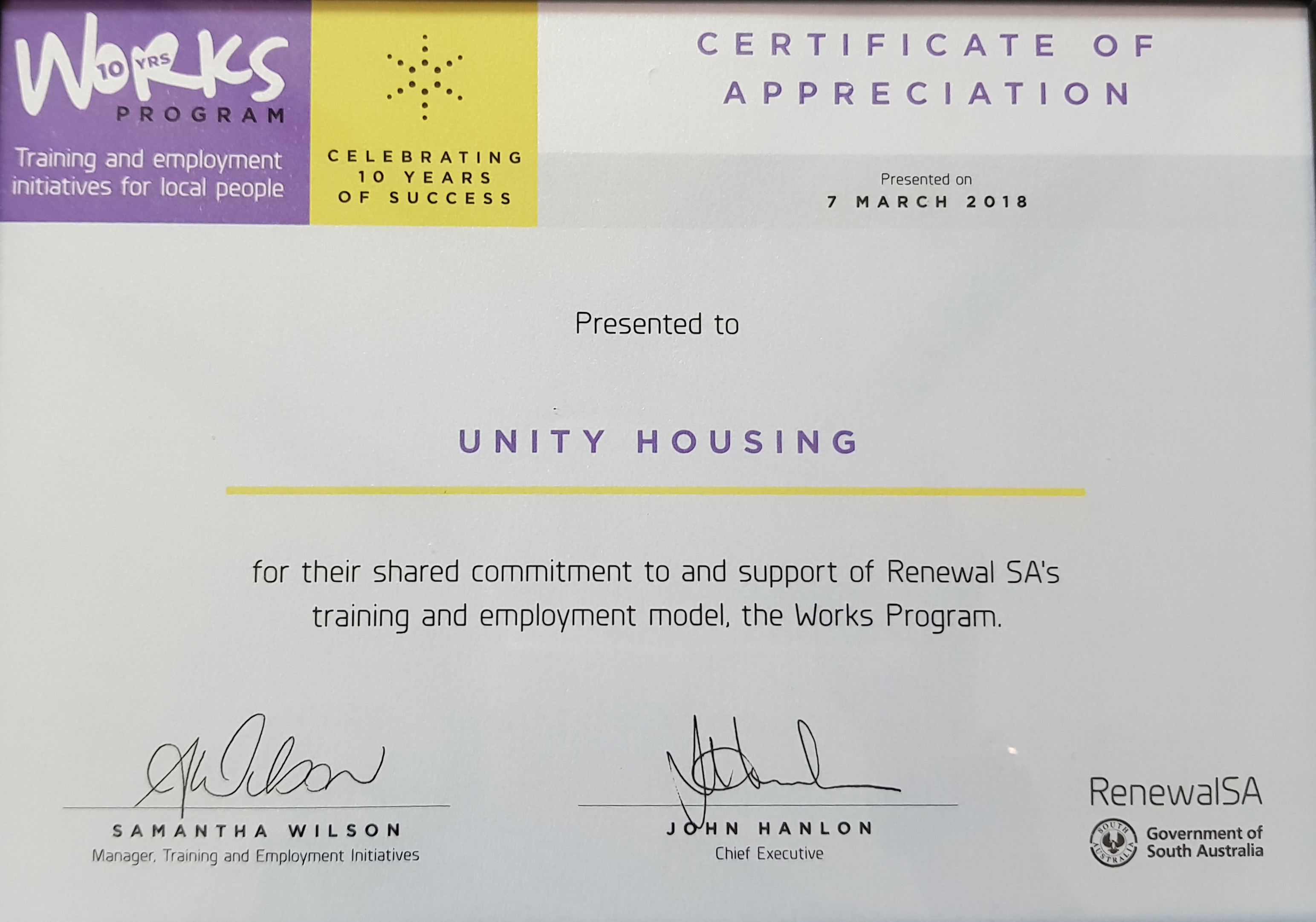Unity acknowledged for commitment to Works Program